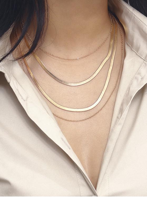women Herringbone Chain Layered Necklace - GOLD