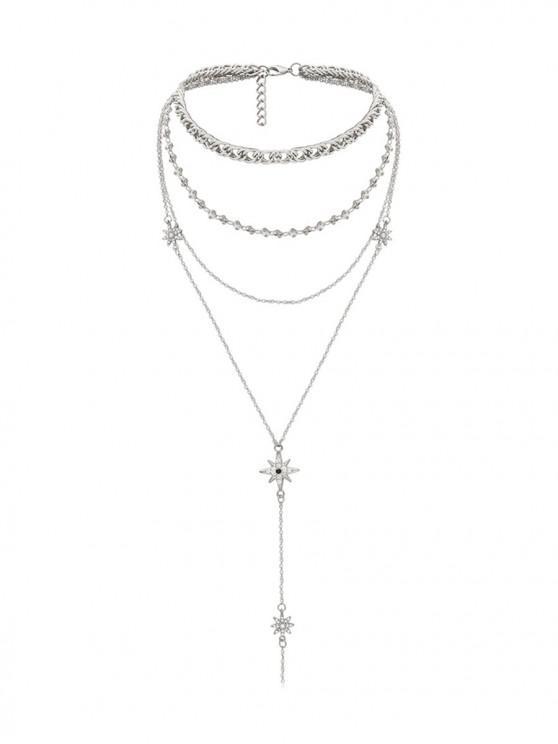 women's Rhinestone Star Multilayered Necklace - SILVER