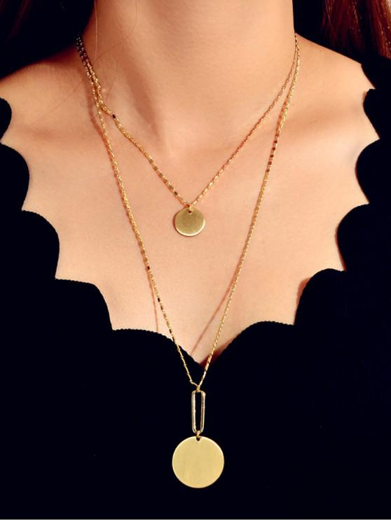 online Double Layer Disc Chain Necklace - GOLD