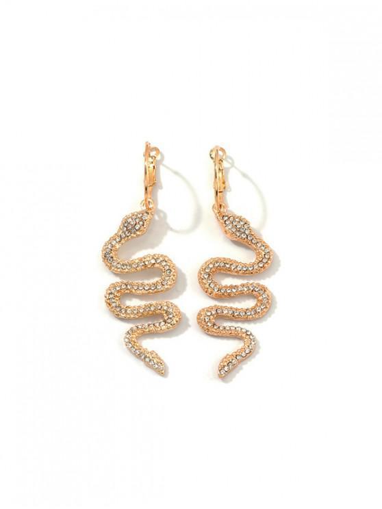 全水鑽蛇夾耳環 - 金