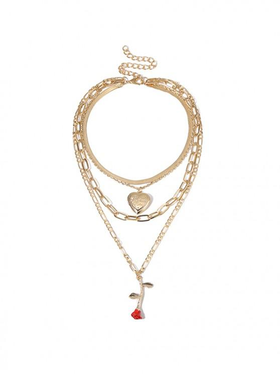 shop Heart Rose Pendant Layered Necklace - GOLD
