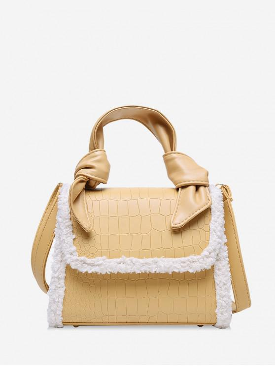 fashion Embossed Leather Fuzzy Brim Handbag - SUN YELLOW