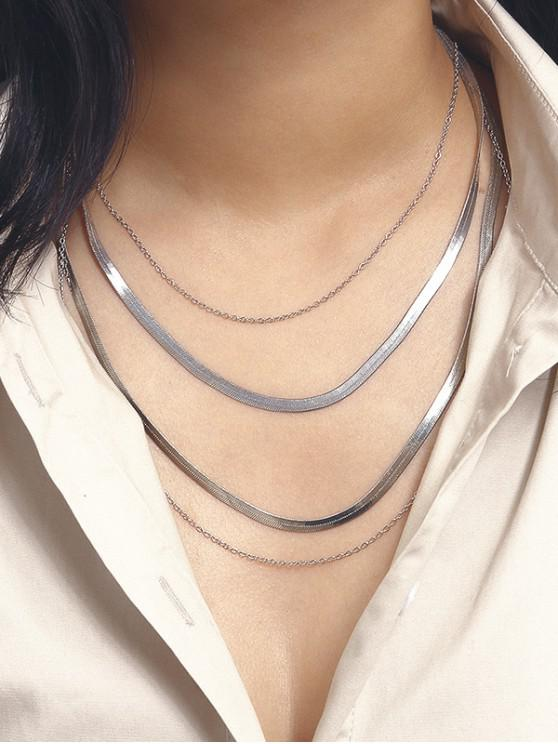 chic Herringbone Chain Layered Necklace - SILVER
