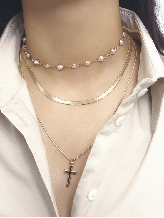 womens Faux Pearl Cross Pendant Layers Necklace - GOLD