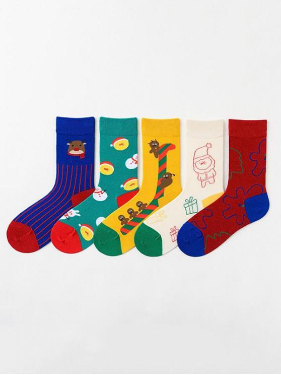 women 5Pairs Christmas Elk Snowman Print Socks Set - MULTI-A