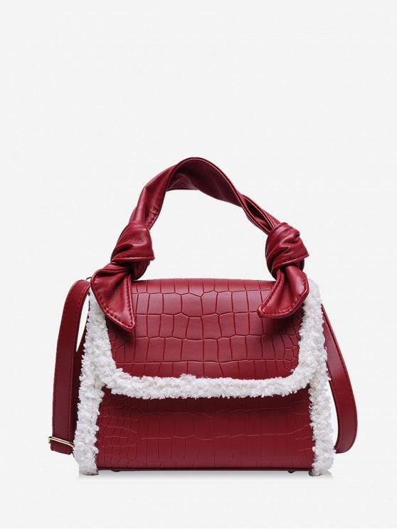 Unscharfe Krempe Handtasche aus Geprägtem Leder - Rot