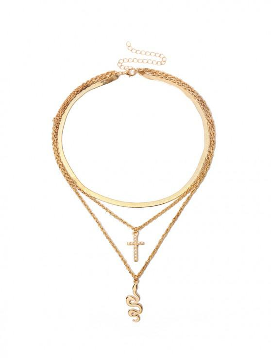 best Cross Snake Pendant Layered Necklace - GOLD