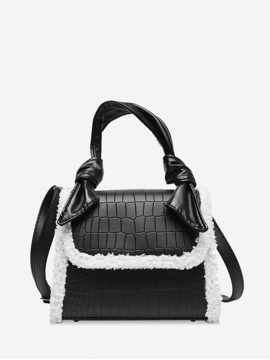 online Embossed Leather Fuzzy Brim Handbag - BLACK