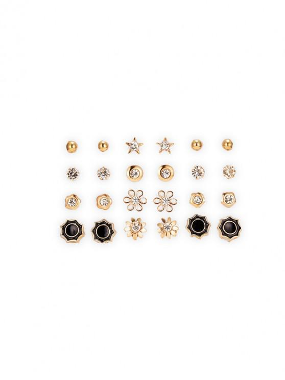 outfit 12 Piece Rhinestone Floral Star Round Stud Earrings Set - GOLD