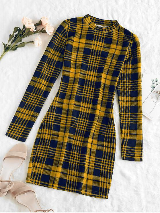 outfits ZAFUL Plaid Houndstooth Bodycon Mini Dress - ORANGE GOLD XL