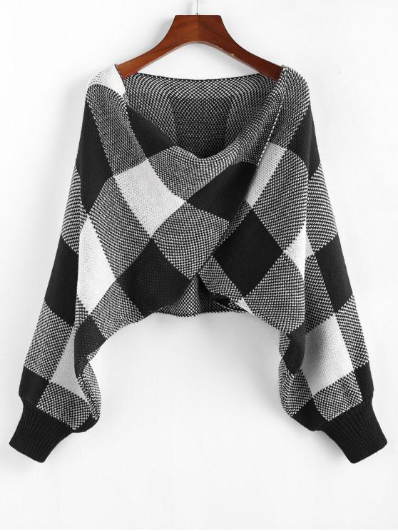chic ZAFUL Checkered Cowl Front Twisted Batwing Sleeve Sweater - BLACK M