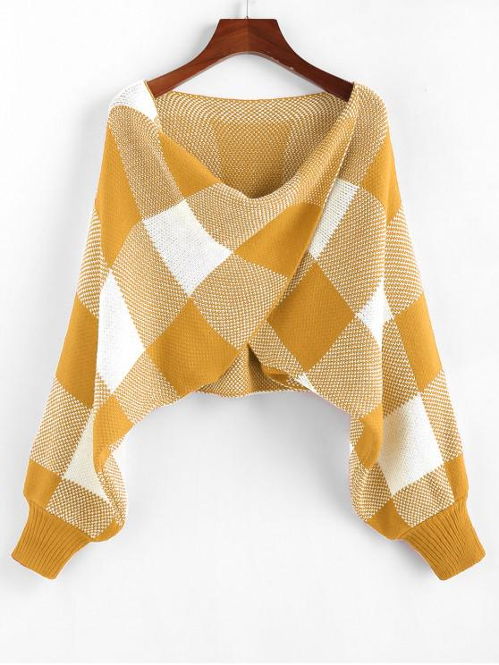 womens ZAFUL Checkered Cowl Front Twisted Batwing Sleeve Sweater - GOLDEN BROWN M