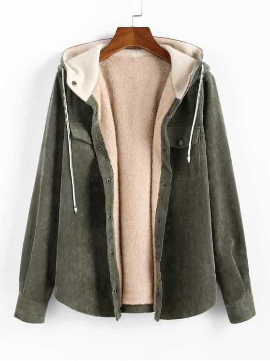 hot Corduroy Hooded Fleece Lining Jacket - FERN GREEN M