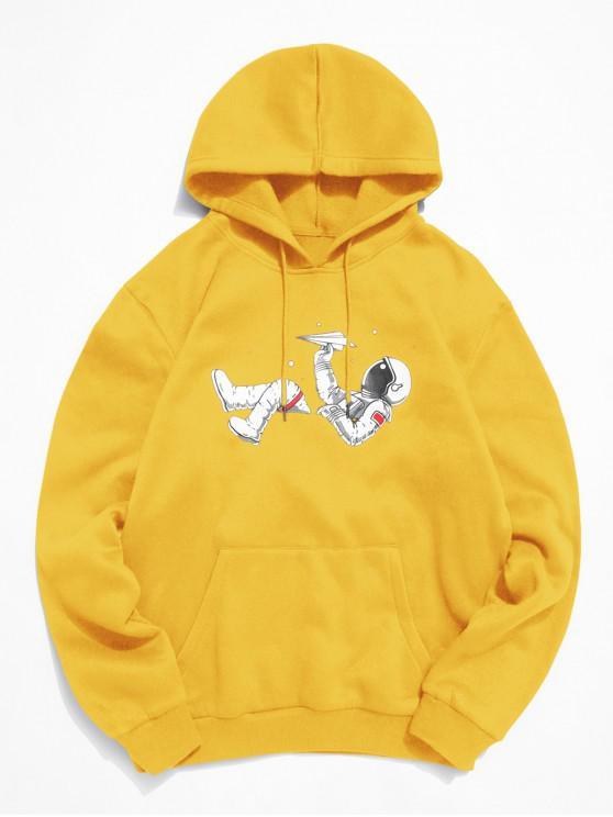 women ZAFUL Astronaut Print Kangaroo Pocket Hoodie - GOLDEN BROWN M