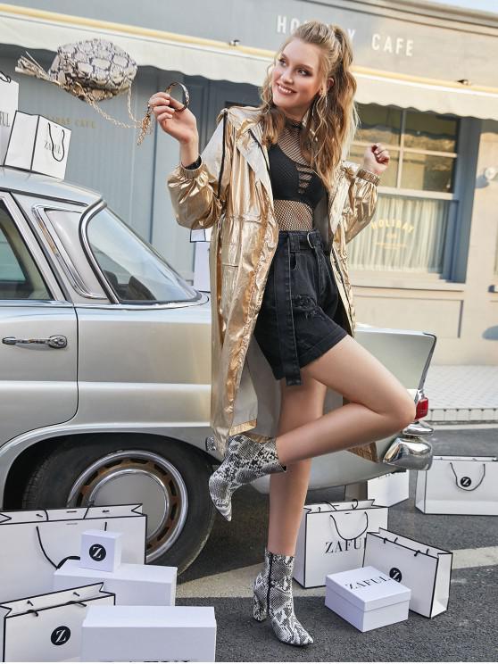 ZAFUL Металл Молния Карманы С капюшоном Пальто Тренч - Золото шампанского L