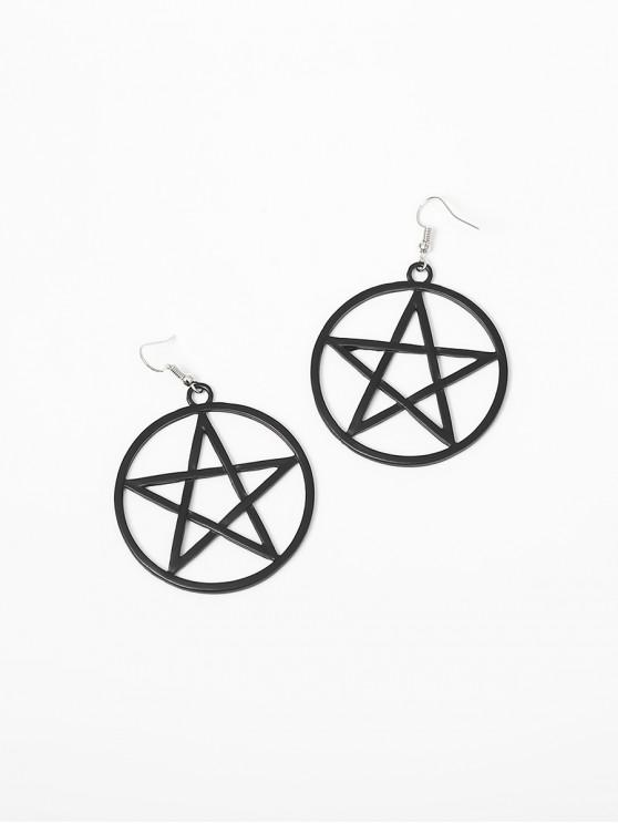 Alloy Star Circle Hook Drop Earrings - 黑色