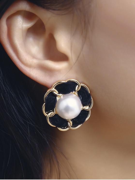 buy Flower Velour Faux Pearl Stud Earrings - GOLD