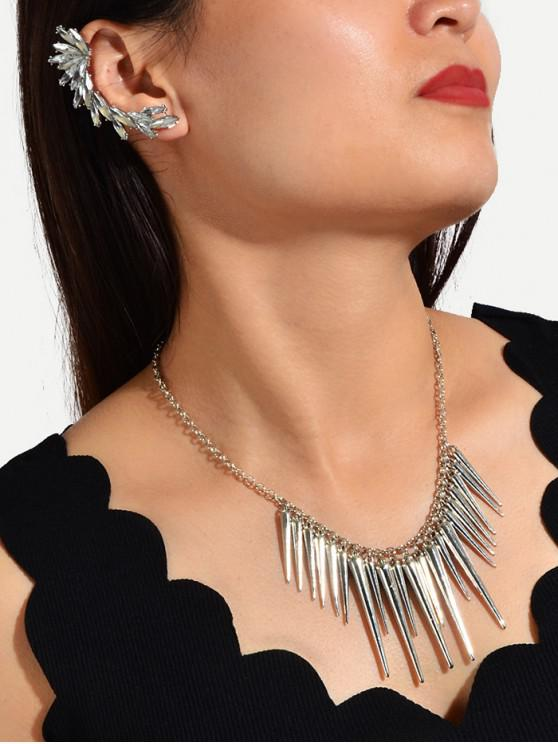 ladies Spike Chain Necklace And Rhinestone Ear Cuff Earring Set - SILVER