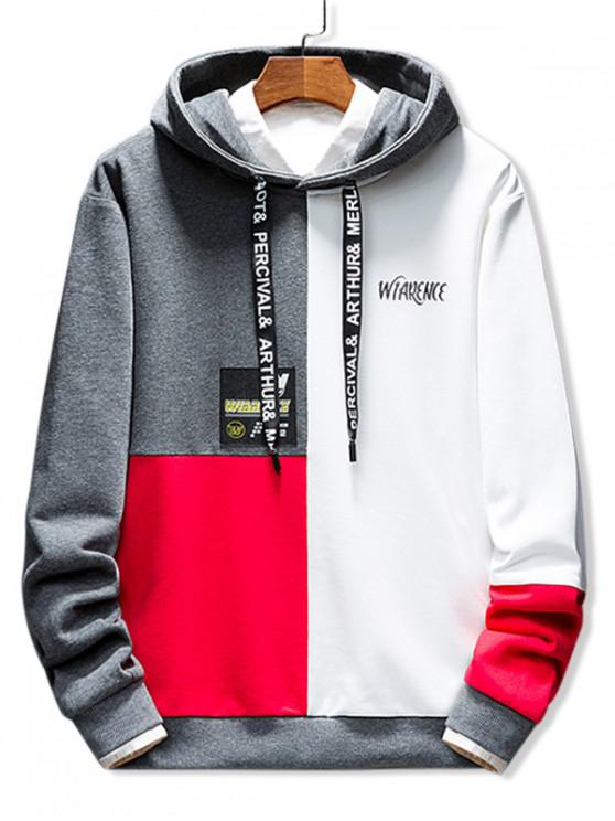 online Casual Letter Print Colorblock Hoodie - GRAY XL
