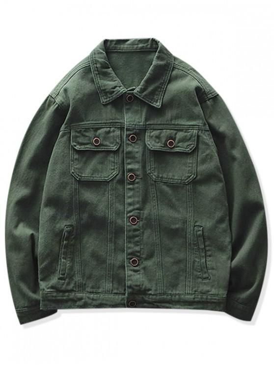 new Solid Color Pocket Button Design Jacket - DARK GREEN 2XL