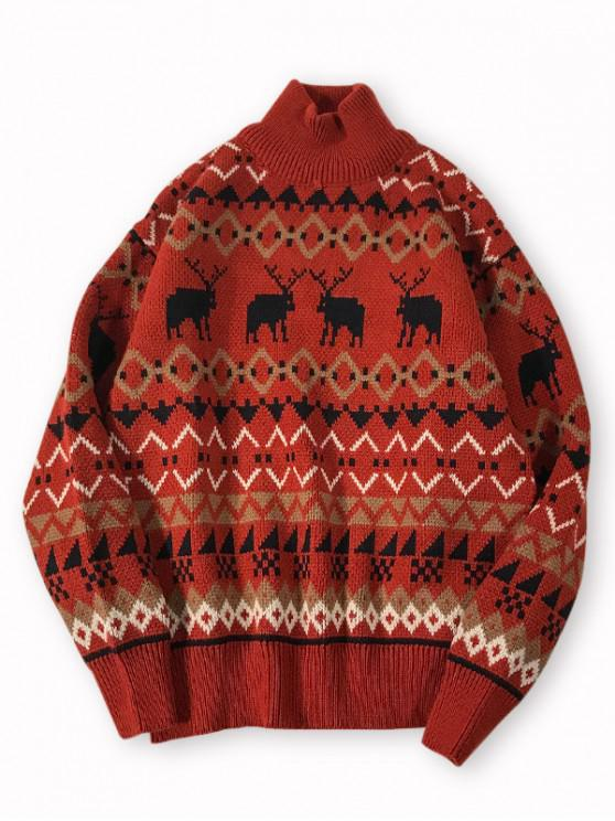 latest Geometric Print High Neck Casual Sweater - RED L