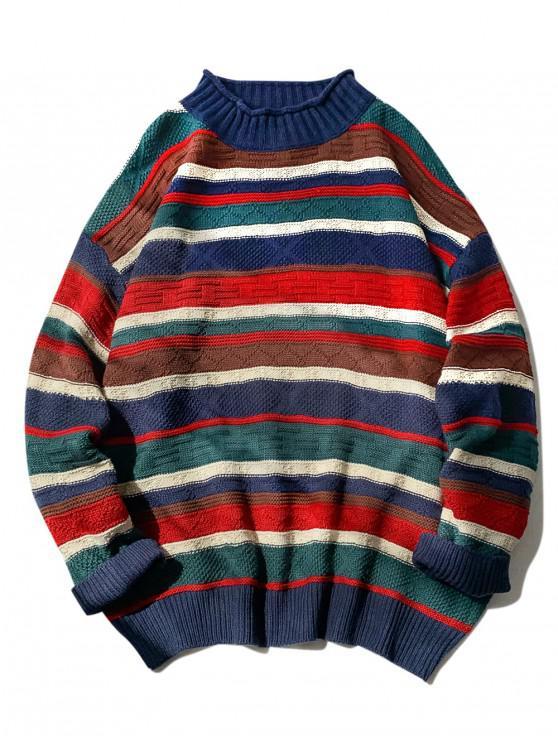 fancy Striped Rolled Mock Neck Drop Shoulder Sweater - CADETBLUE M