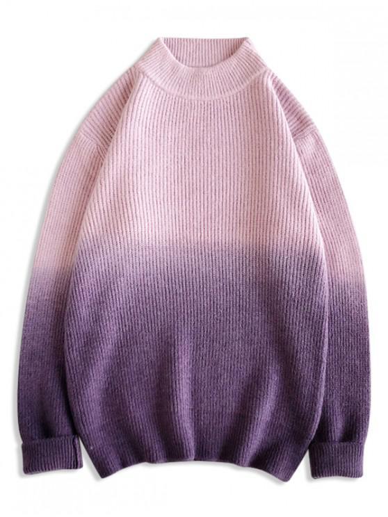 fancy Mock Neck Dip Dye Pullover Sweater - PINK S