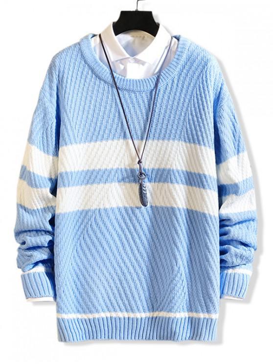 Contrasto strisce inclinato Maglione casuale - Blu M