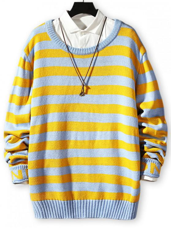 trendy Striped Letter Print Lounge Sweater - BLUE M