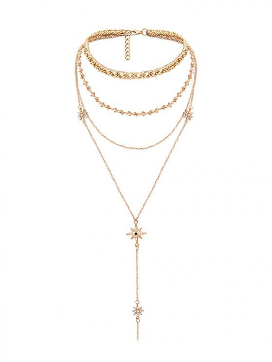 水鑽星多層項鍊 - 金