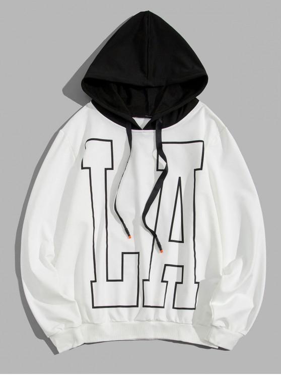 online Letter Stripes Print Colorblock Spliced Drawstring Hoodie - WHITE XL