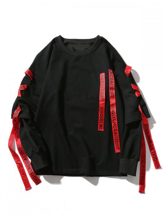 ladies Letter Print Ribbon Faux Twinset Drop Shoulder Sweatshirt - BLACK 2XL