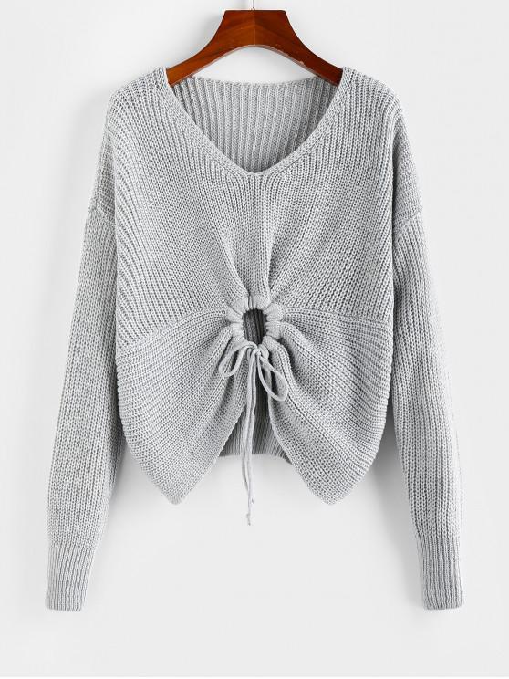 buy ZAFUL Drop Shoulder Tie Textured Sweater - GRAY GOOSE L