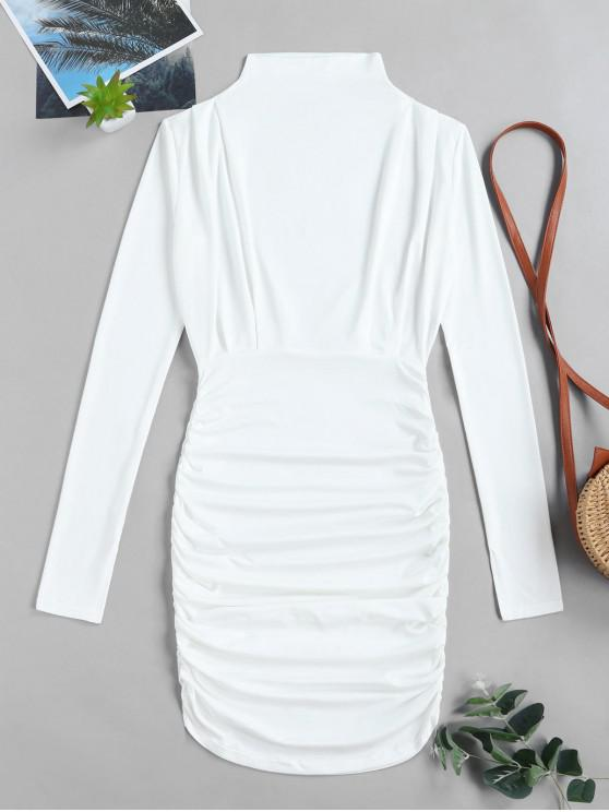 affordable Ruched Solid Bodycon Dress - WHITE L