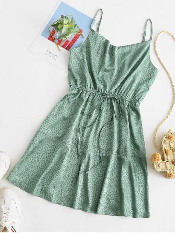 fashion ZAFUL Dalmatian Jacquard Flounce Hem Mini Dress - GREEN M