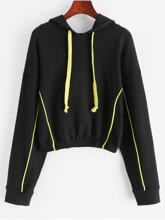 affordable French Terry Piping Hoodie - BLACK M