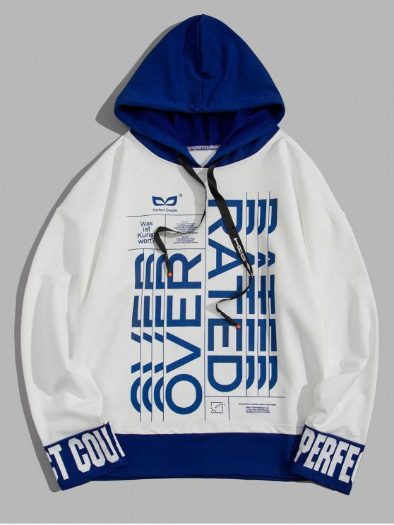 ladies Letter Graphic Print Colorblock Spliced Faux Twinset Hoodie - WHITE M