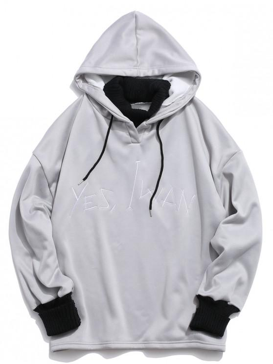 unique Letter Embroidered Casual Style Hoodie - GRAY CLOUD 2XL