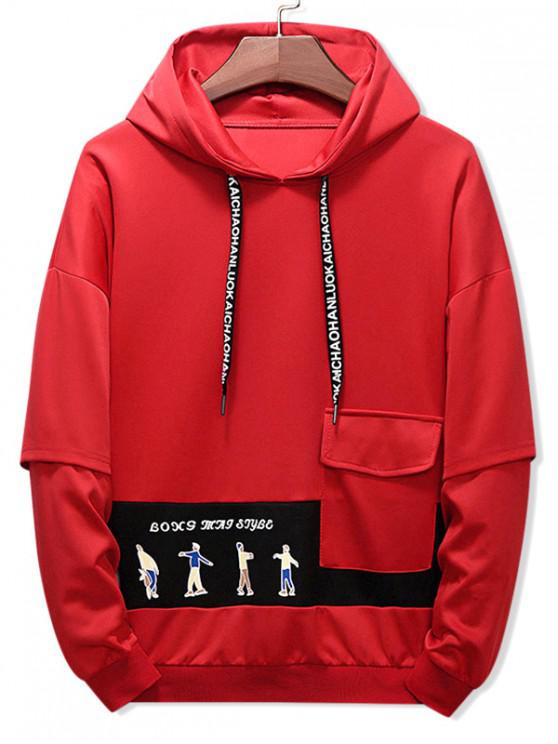 outfits Letter Character Printed Pocket Hoodie - RED WINE L