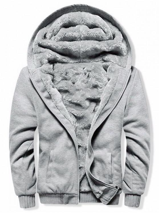 trendy Solid Zip Up Plush Hooded Jacket - GRAY M