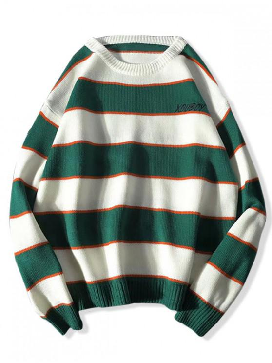 unique Striped Colorblock Letter Embroidery Sweater - GREEN L