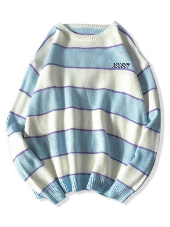 lady Striped Colorblock Letter Embroidery Sweater - BLUE L