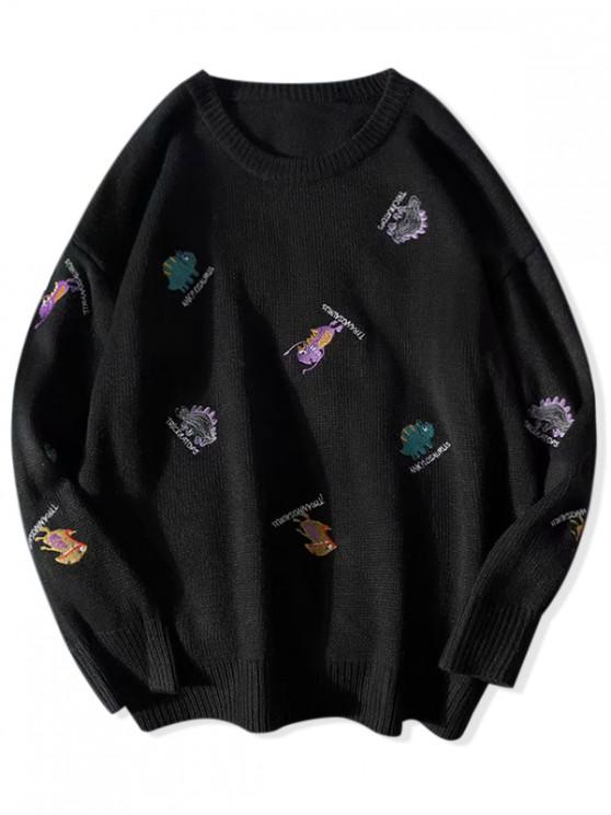 unique Embroidery Animal Letter Graphic Casual Sweater - BLACK 2XL