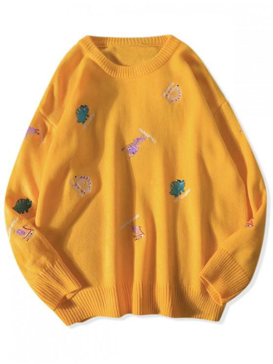 sale Embroidery Animal Letter Graphic Casual Sweater - YELLOW M