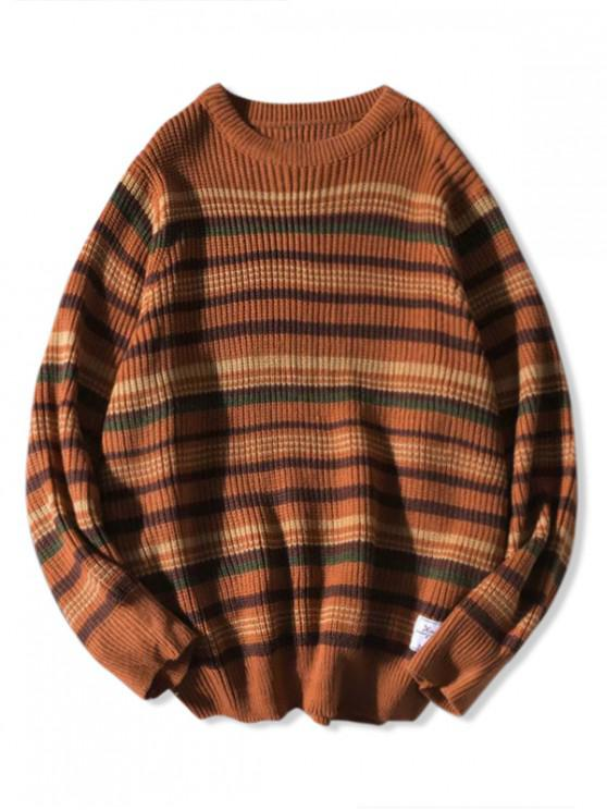 new Crew Neck Striped Knitted Sweater - BROWN XL