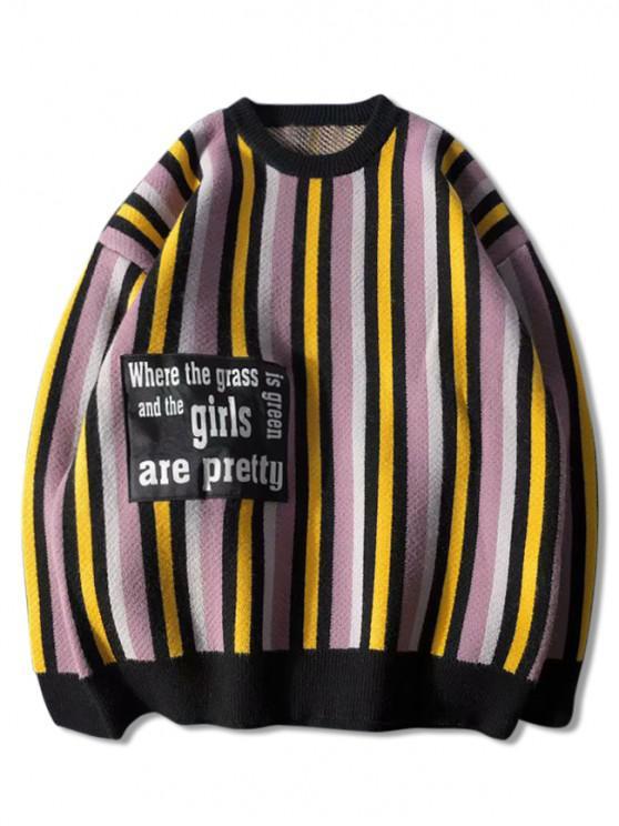 chic Letter Patchwork Striped Drop Shoulder Sweater - PURPLE 2XL