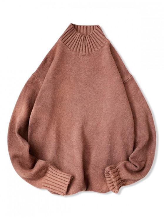 shops Plain High Neck Drop Shoulder Pullover Sweater - LIGHT BROWN 3XL