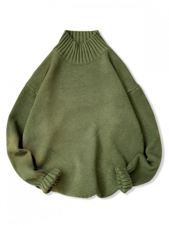 unique Plain High Neck Drop Shoulder Pullover Sweater - GREEN M