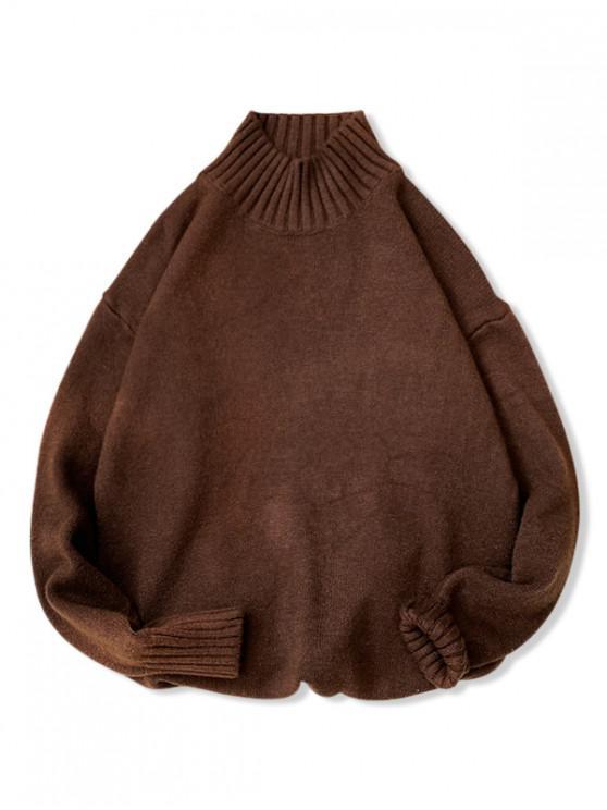 women Plain High Neck Drop Shoulder Pullover Sweater - COFFEE M