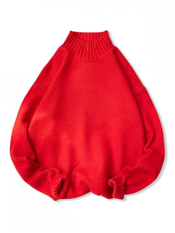 outfit Plain High Neck Drop Shoulder Pullover Sweater - RED 2XL